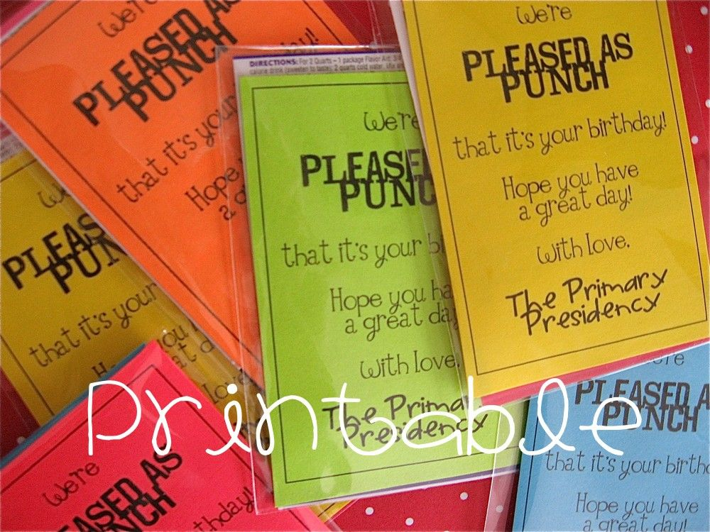 Classroom Handout Ideas ~ Printable pdf pleased as punch lds primary birthday