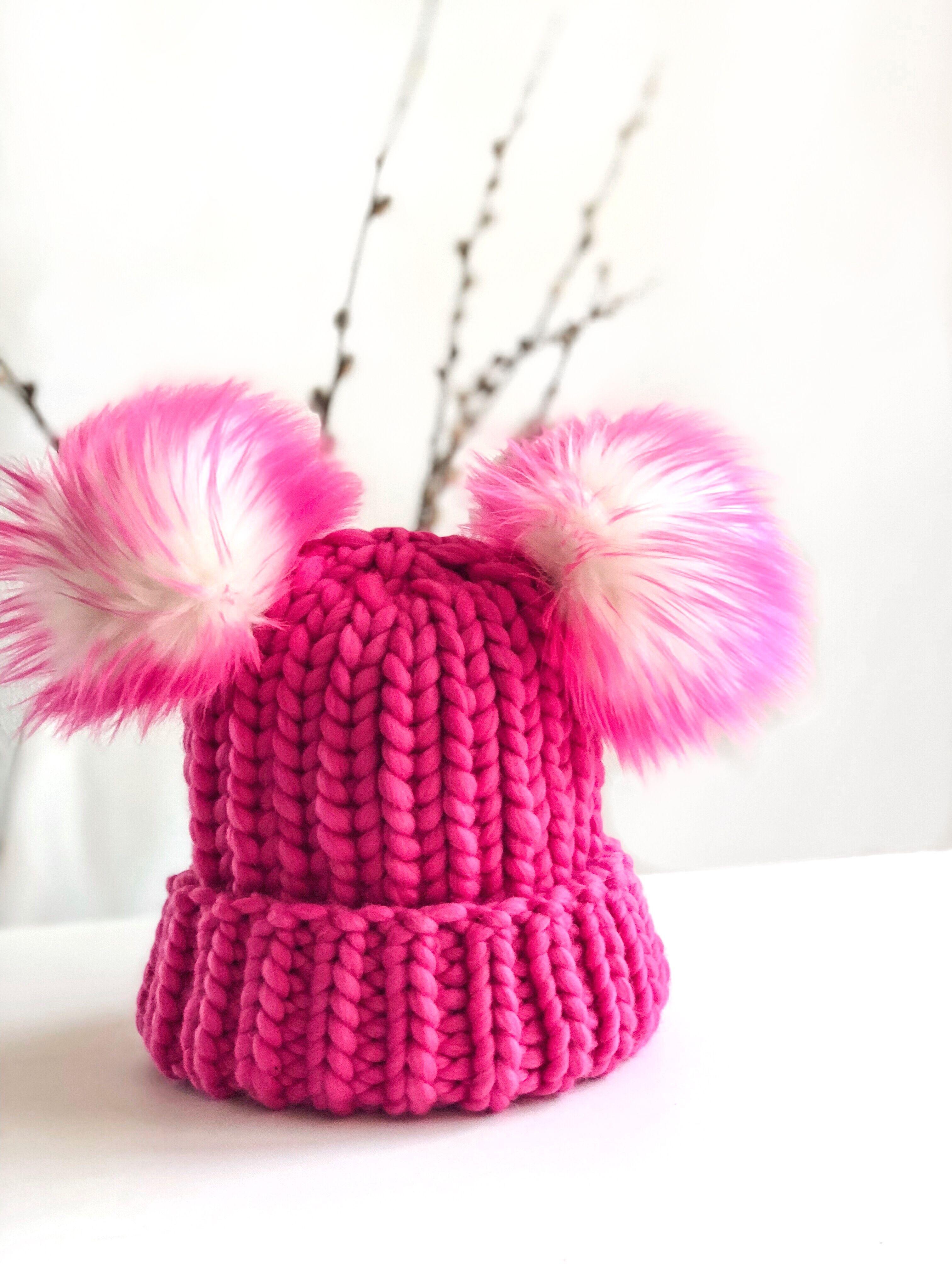 ffcc185678a  Nickichicki merino faux fur double pom-pom beanie. Hot pink winter hat.  Toddler girl style.