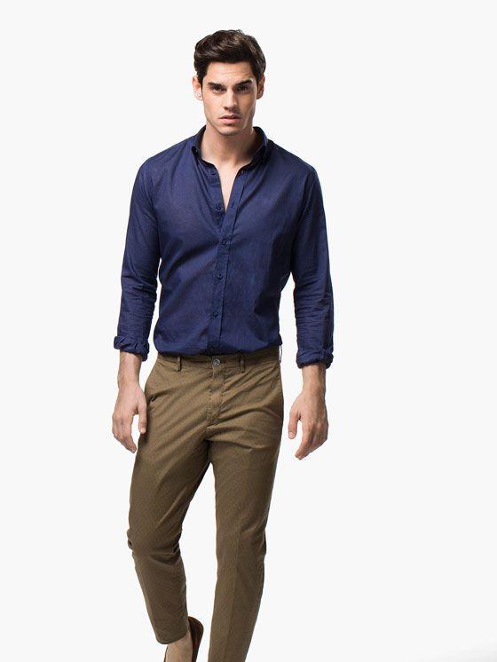 Dark Blue Shirt Brown Chinos Brown Pants Men Mens Shirt Dress Business Casual Men