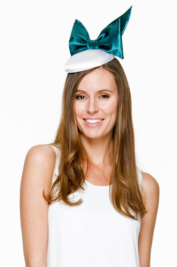Georgia Verschuer models the  Mia  turquoise and white My Milliner  fascinator Fascinator Hats 16e5d6a097b0