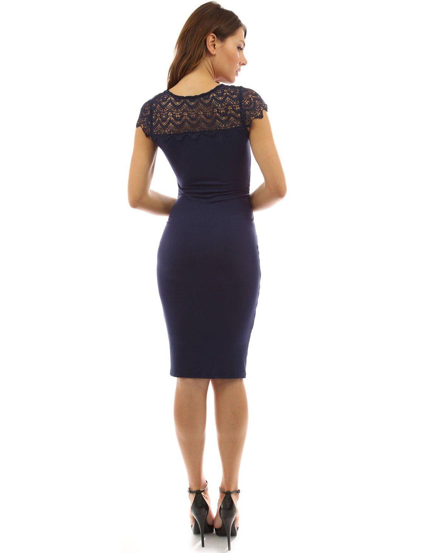 17c4d442a3 PattyBoutik Mama Crewneck Crochet Lace Inset Ruched Sheath Dress at Amazon  Women s Clothing store