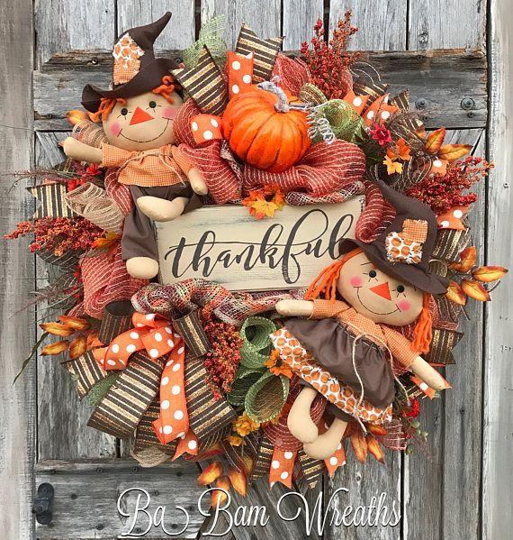 Scarecrow Wreath, Primitive Fall Wreath, Primitive ...