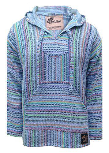 46938f567b80 No Bad Days Baja Hoodie Mexican Poncho - Periwinkle Rainbow Mini Herringbone  Pattern (Small)