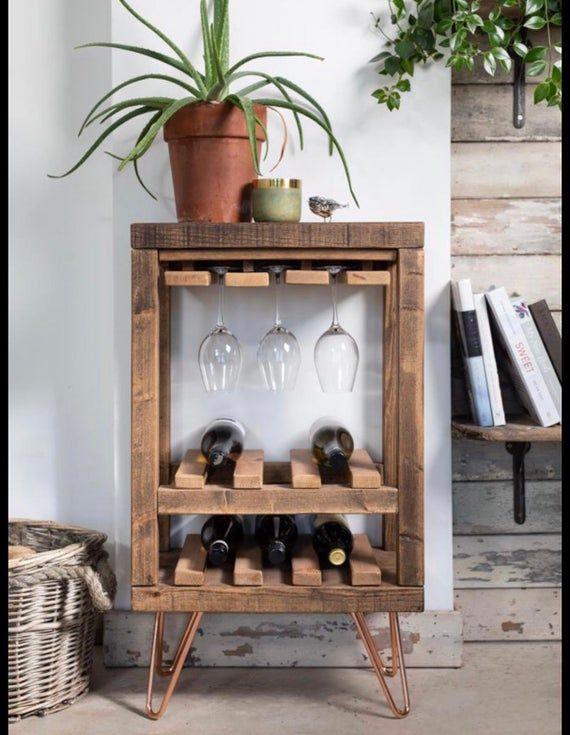 Wine Rack & Glass Holder / Table / Handmade / Rustic / Wood / Bar / Mini / Storage / Unit / Shelving