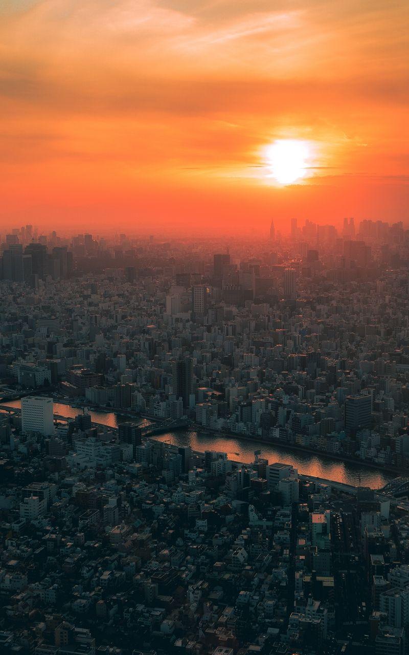 Sunset In Tokyo Japan Sunset Wallpaper Sun Wallpaper Hd Photo