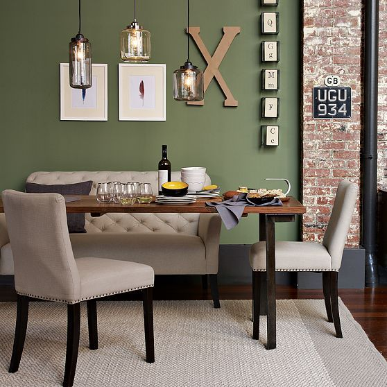Green Walls Exposed Brick Beautiful Sofa Industrial Dining