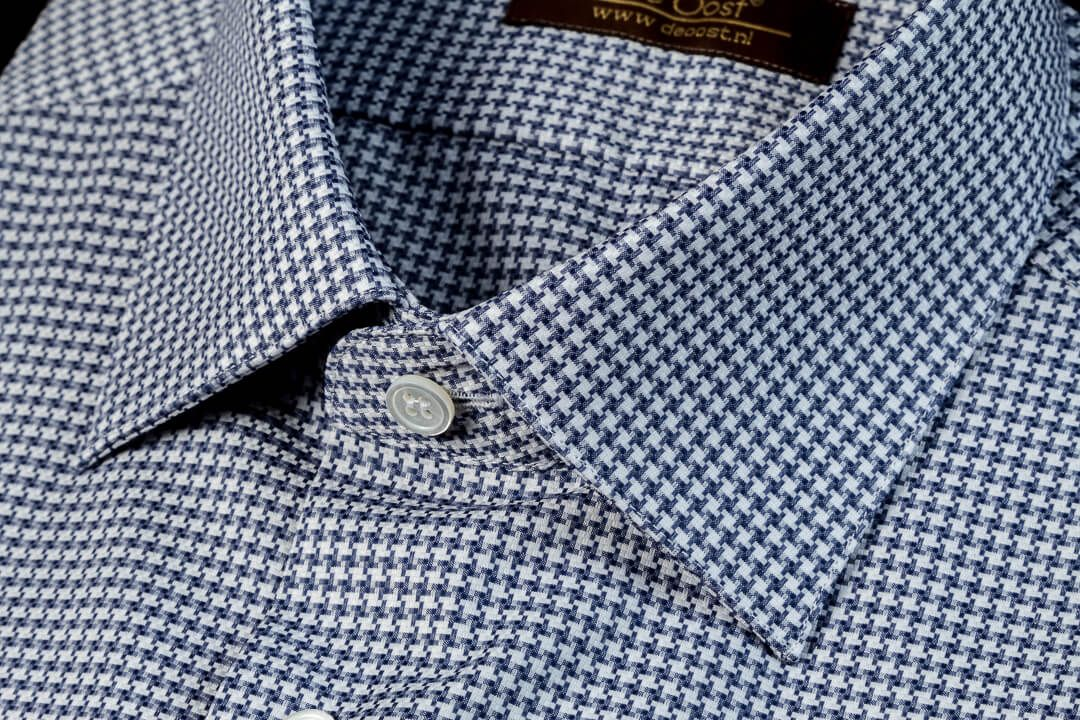 Maat Overhemd Heren.Overhemd Op Maat Heren Bespoke Blauw Grijs Houndstooth Monti