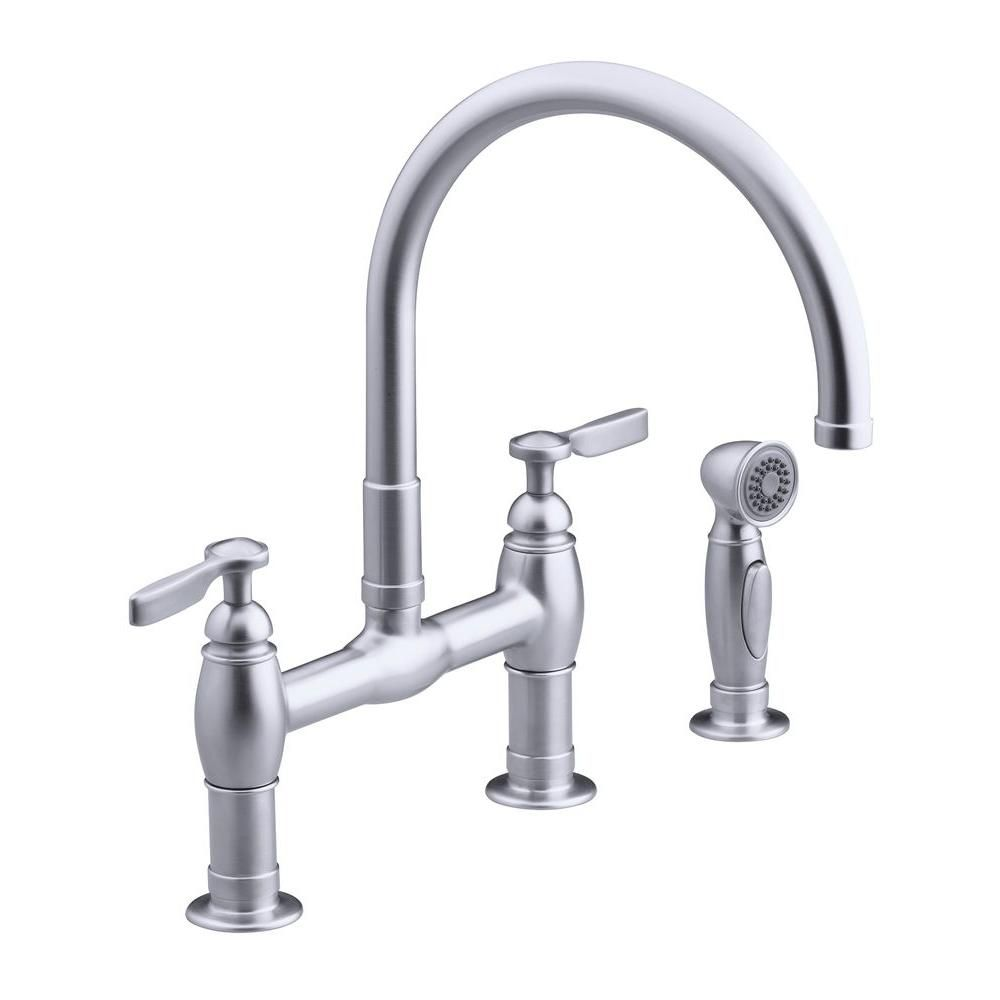 Kohler Parq 2 Handle Bridge Kitchen Faucet In Vibrant Stainless K 6131 4 Vs The Home Depot In 2020 Kitchen Faucet High Arc Kitchen Faucet Chrome Kitchen Faucet