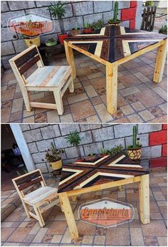 Photo of Pallets Outdoor Furniture Here an amazing chair and table design is introduced f…
