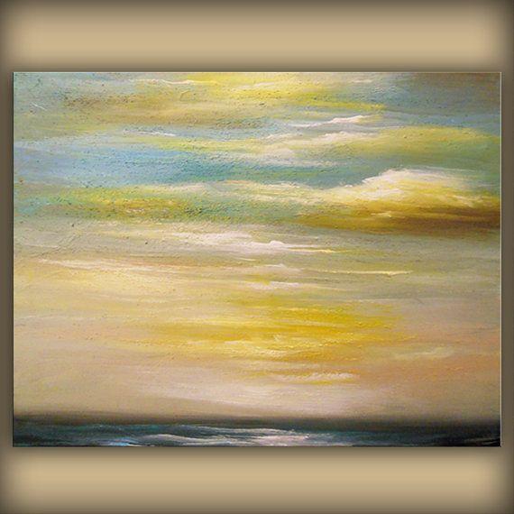 art ORIGINAL seascape cloud painting abstract sand by mattsart | Art ...