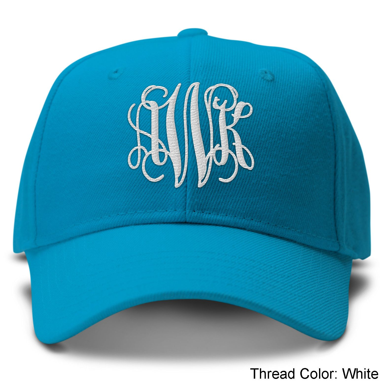 a5a5e70885f Teal Monogram Baseball Hat With Black Thread from mgramcases