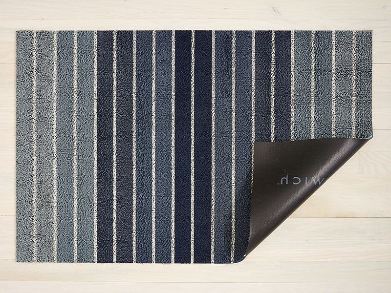Block Stripe Shag Mat in Denim Outdoor floor mats, Mold