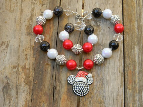 Christmas Santa Bling Rhinestone Pendant Disney Classic Mickey Mouse Inspired Girls Chunky Necklace or Bracelet,Chunky Bead Necklace RTS