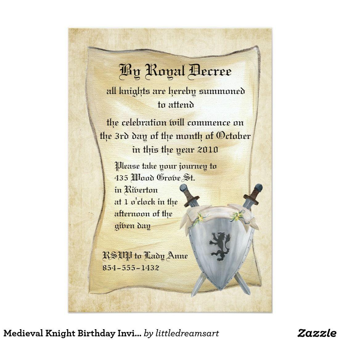 Mittelalterliche Ritter Geburtstags Einladung 12,7 X 17,8 Cm Einladungskarte