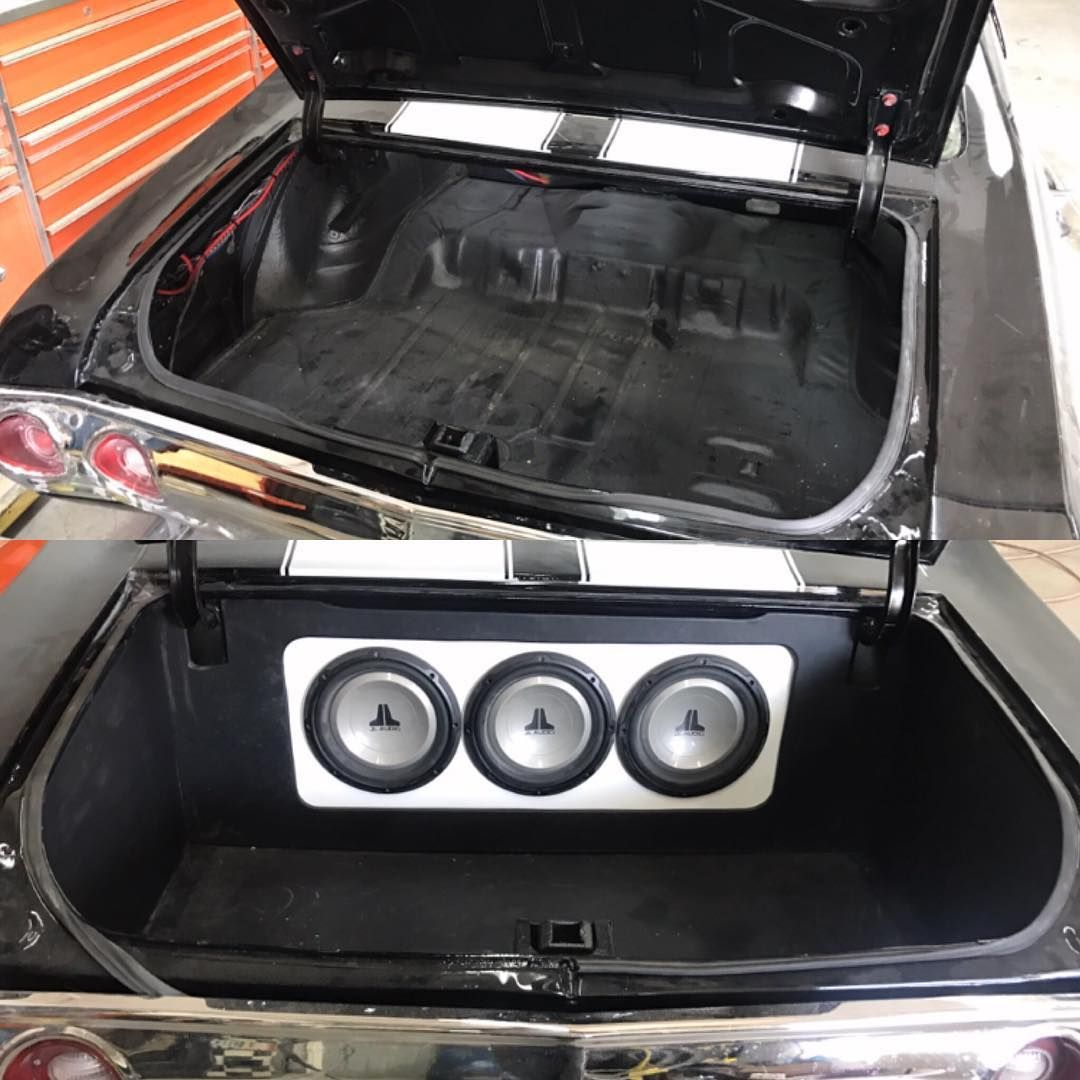 chevelle #BecauseSS car audio jl audio custom trunk install walled off.