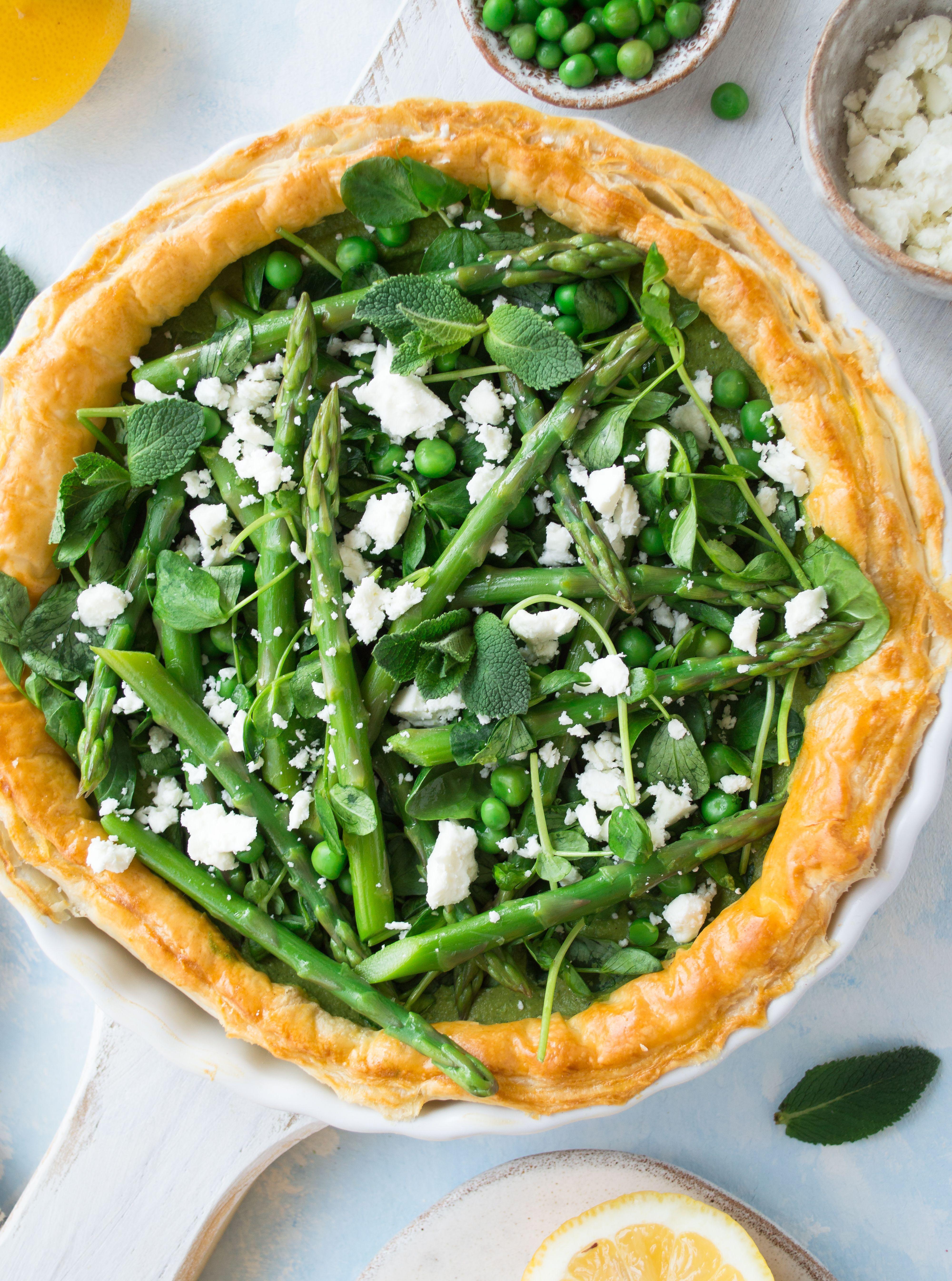 Asparagus Tart With Pea Mint Pesto Feta