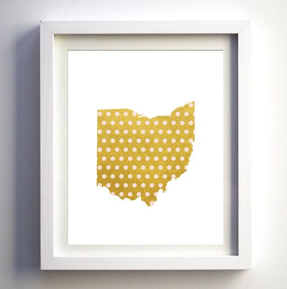 Gold foil and pink polka dots Ohio State printable baby nursery wall ...