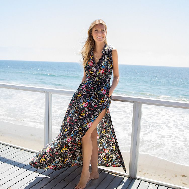 Gwyneth Paltrow's favorite things: A floral maxi dress for summer. Undo the neck and thigh-high side slits and pair with Birkenstocks for day; then button up and swap in heels for a gown effect.