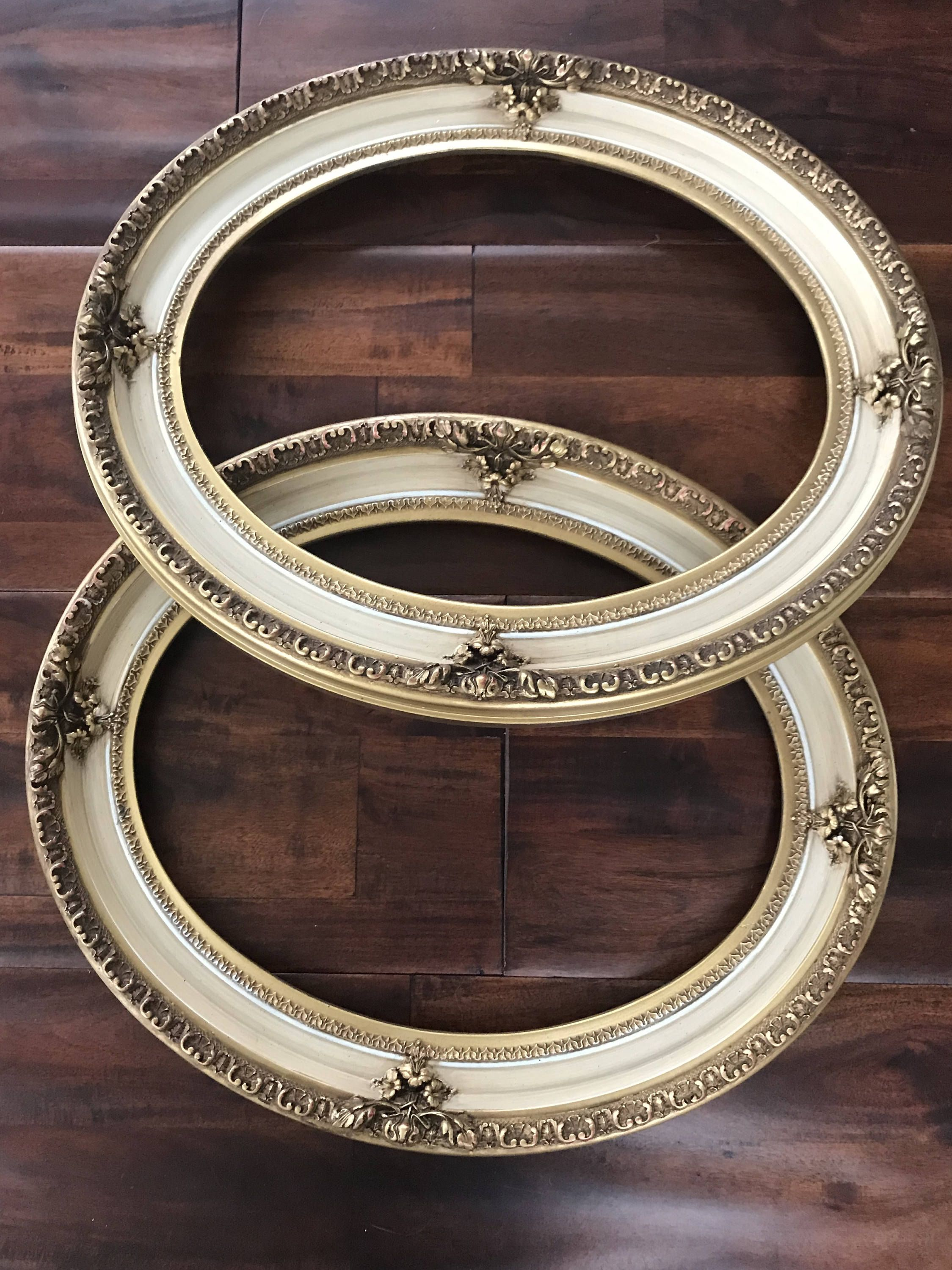 Vintage pair of baroque ornate oval open back wood frames gold vintage pair of baroque ornate oval open back wood frames gold with antique white jeuxipadfo Gallery