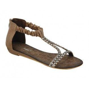 AMPLY-2 Women Ankle/T Strap Sandal - Brown