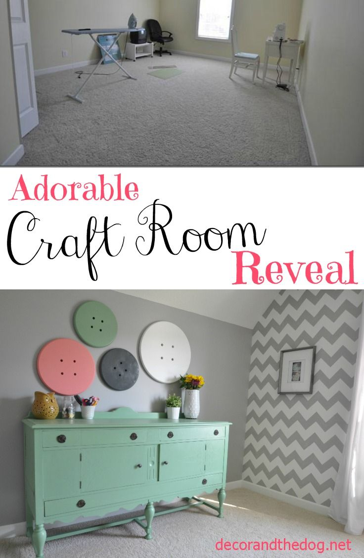 Craft room tour button wall art antique buffet and buffet adorable craft room reveal super cute details like a chevron wall and button wall art amipublicfo Images