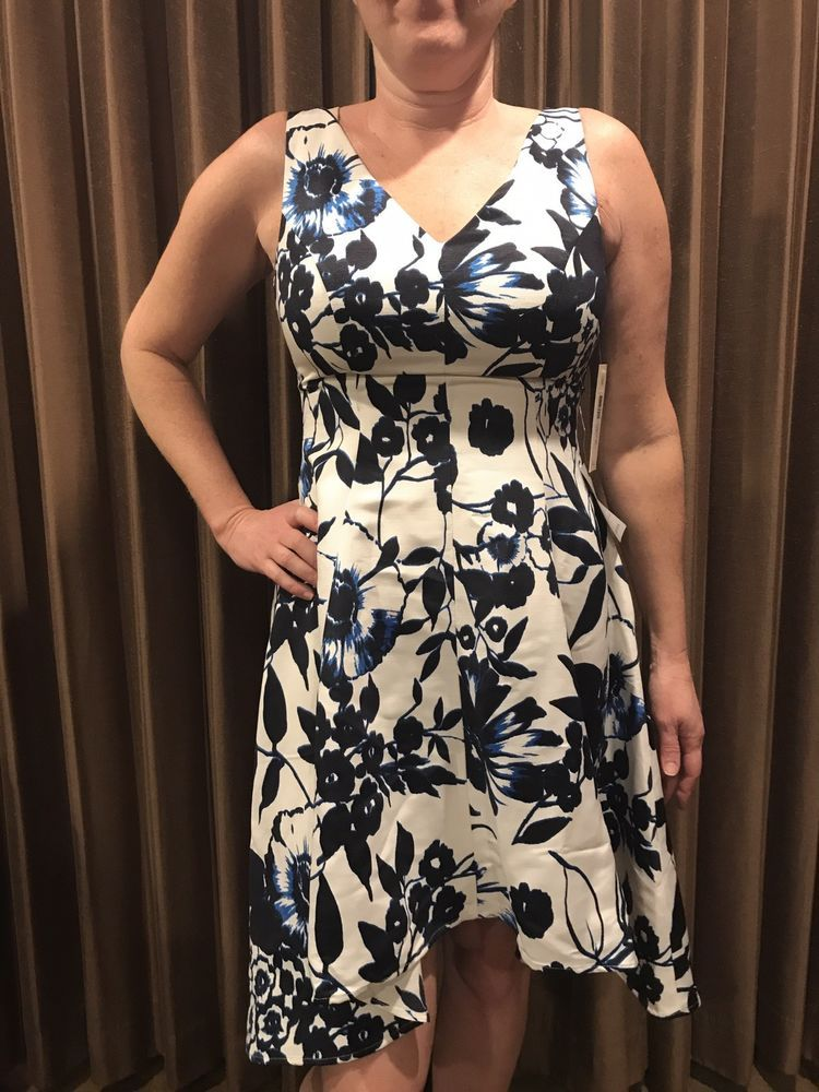 Eliza J Blue   White Floral Dress. Hi-Lo Skirt Size 6 New With Tags  fashion   clothing  shoes  accessories  womensclothing  dresses (ebay link) cac132963