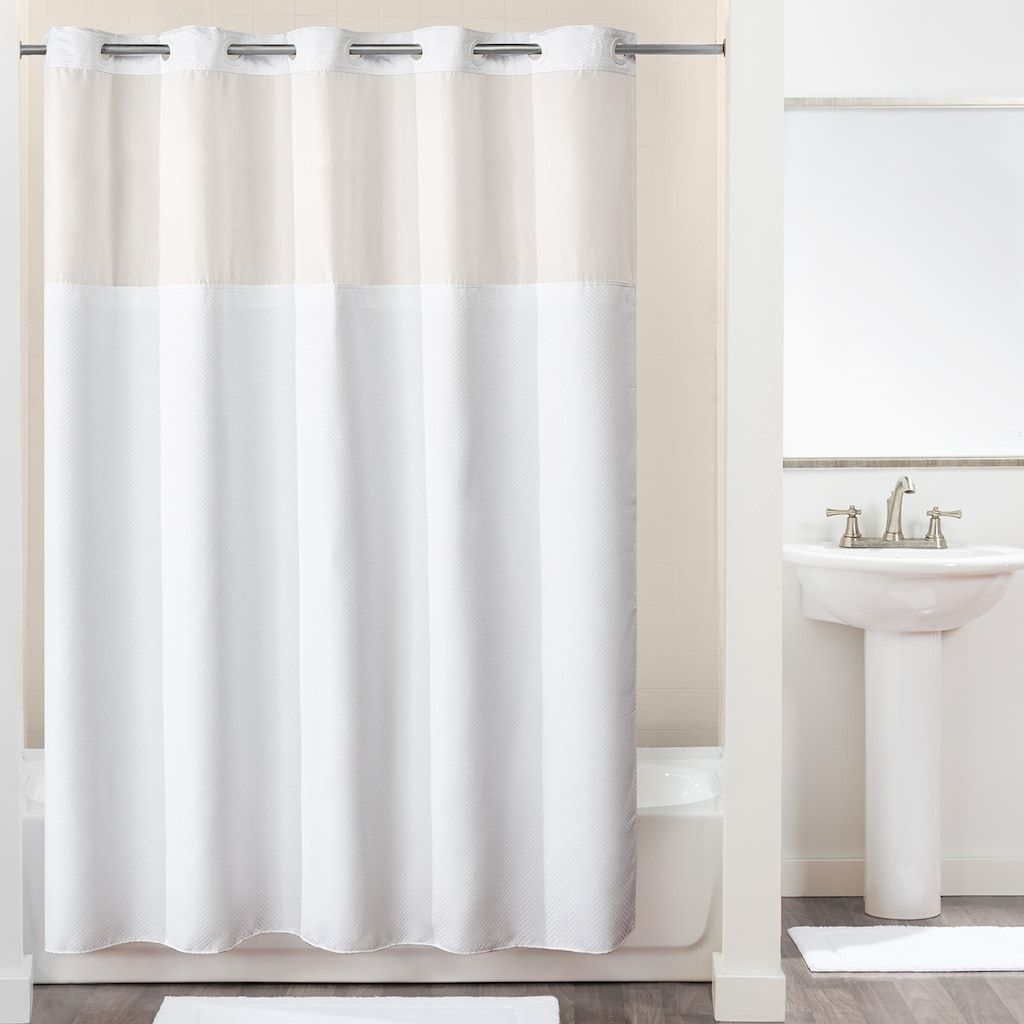 Hookless White Polyester Shower Curtain 71x74