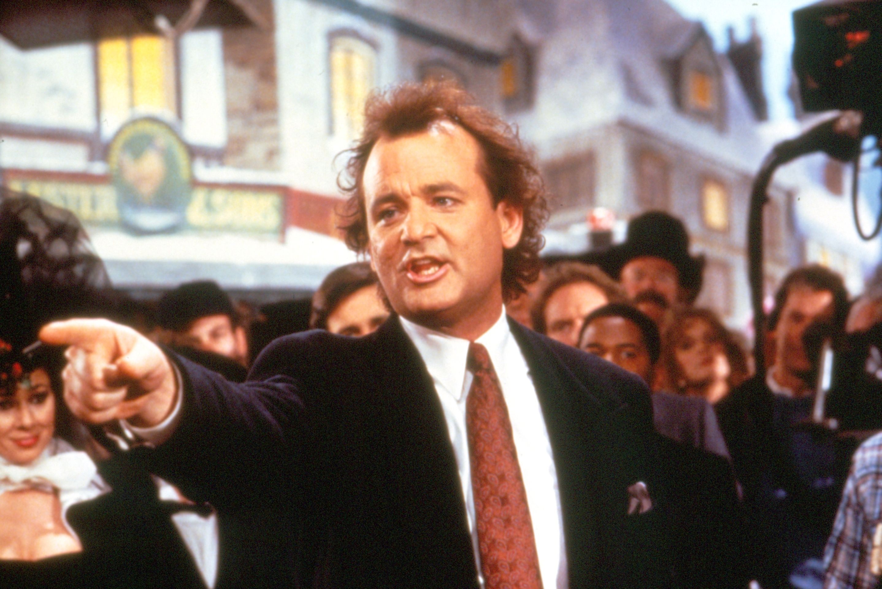 """Scrooged"" movie still, 1988.  Bill Murray as Frank Cross.  Based on ""A Christmas Carol"" by Charles Dickens, Murray plays the Scrooge character in this comedy directed by Richard Donner."