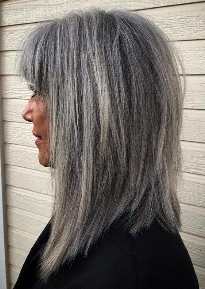 Gray Hairstyles And Haircuts Ideas For 2020 Hair Styles Grey Hair With Bangs Long Gray Hair