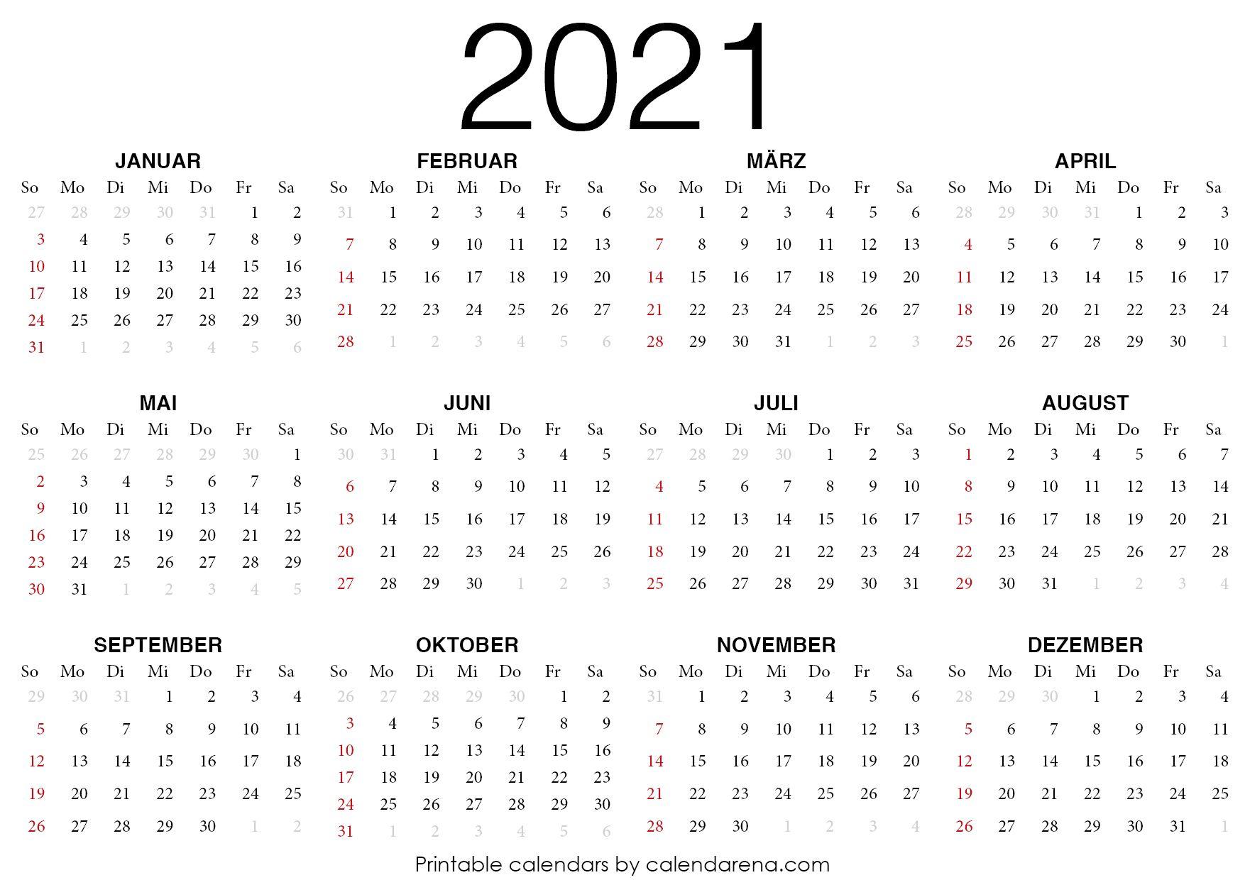 2021 Kalender Zum Ausdrucken Kalender Zum Ausdrucken Kalender Leerer Kalender