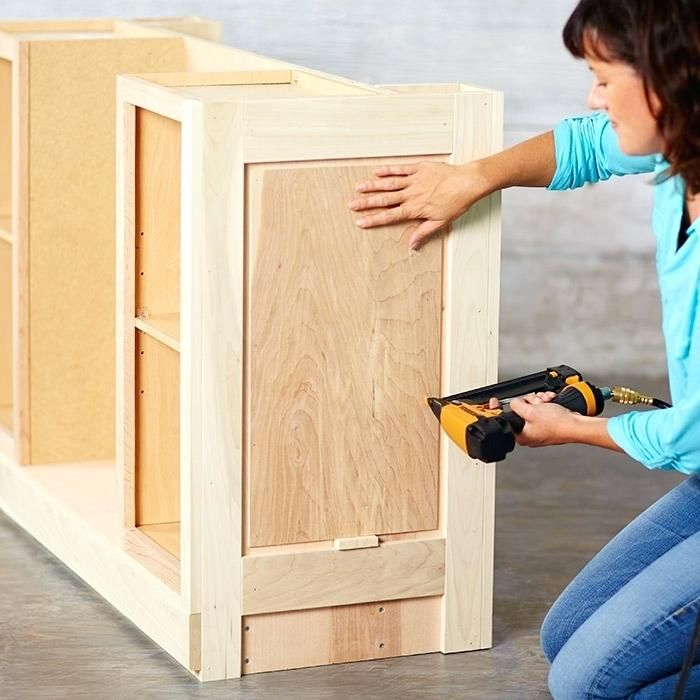 build a kitchen island using stock cabinets use a spacer to set the rh pinterest com build a kitchen island using stock cabinets