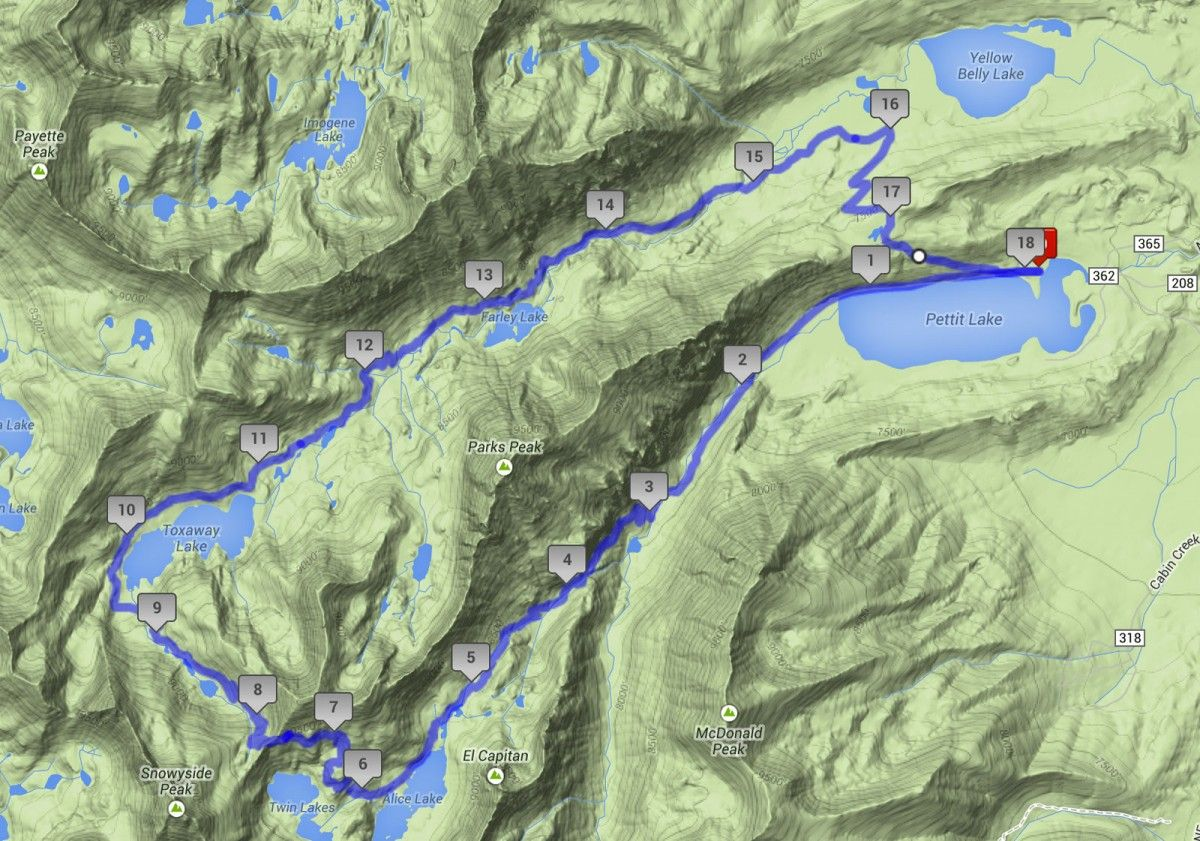 Topographic map of the Alice to Toxaway Loop. 18 miles with 2600\' of ...