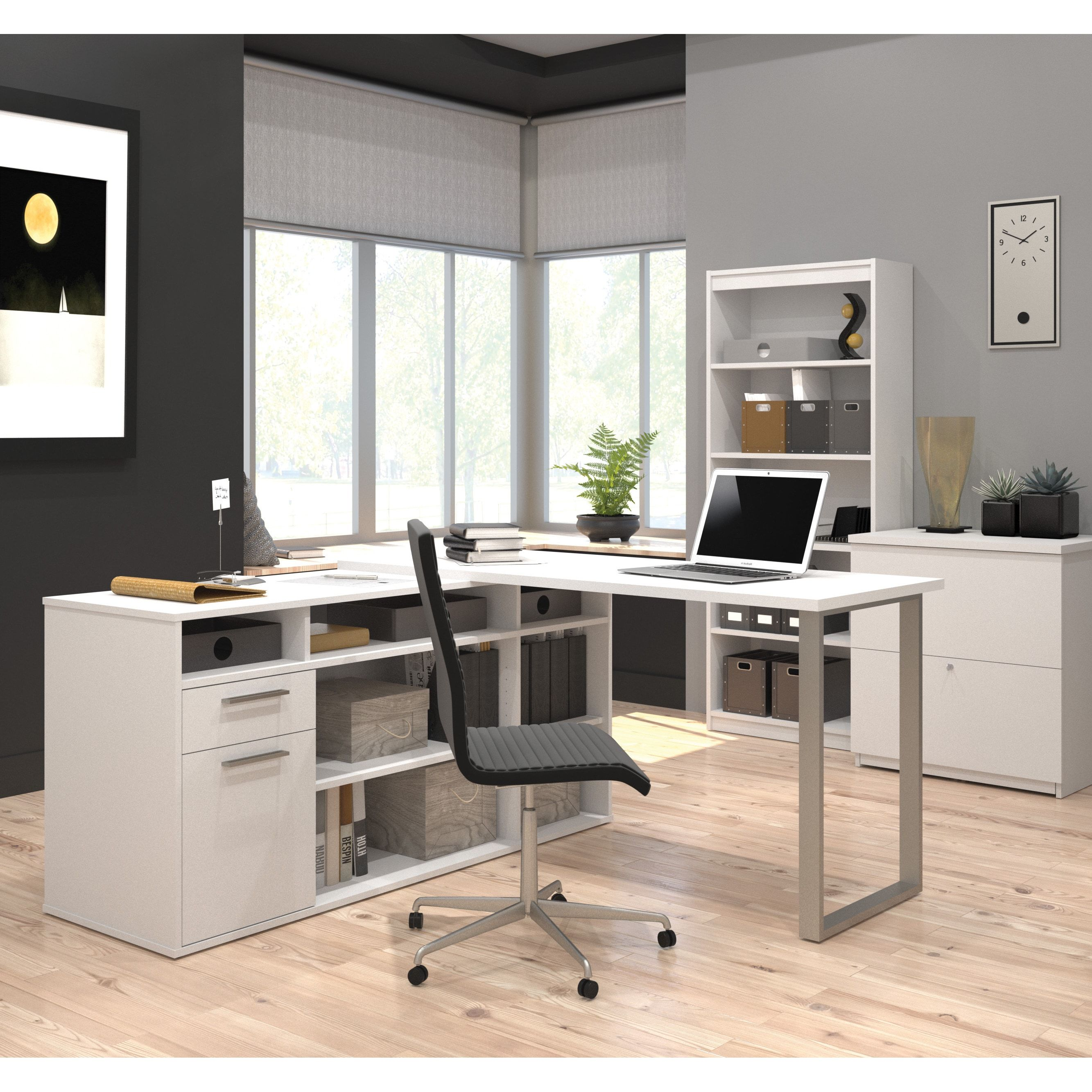 Bestar solay lshaped desk with lateral file and bookcase white