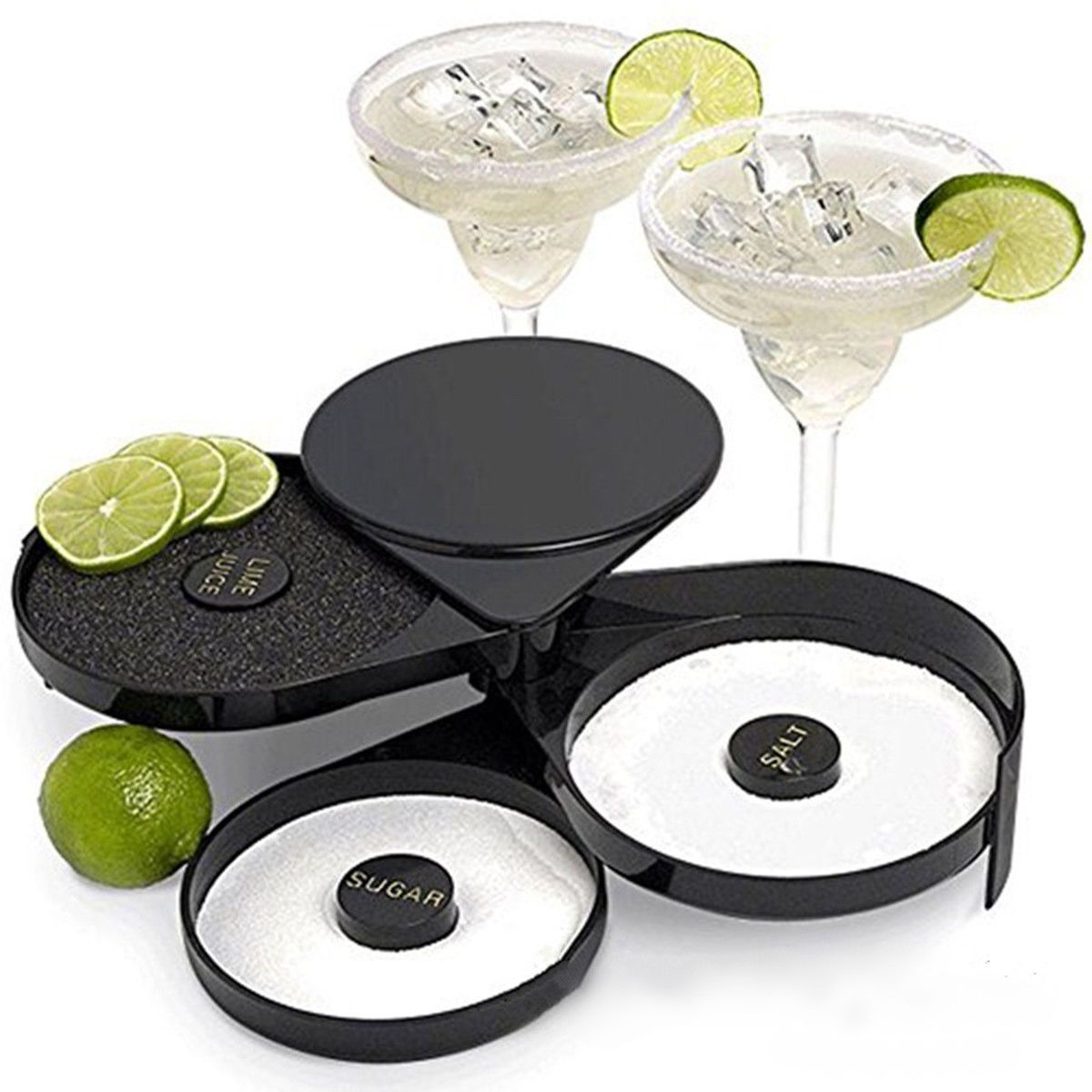 Cocktail Margarita Glass Rimmer 3 Tier Sugar Salt Rim Lime Bar Bartender Tools