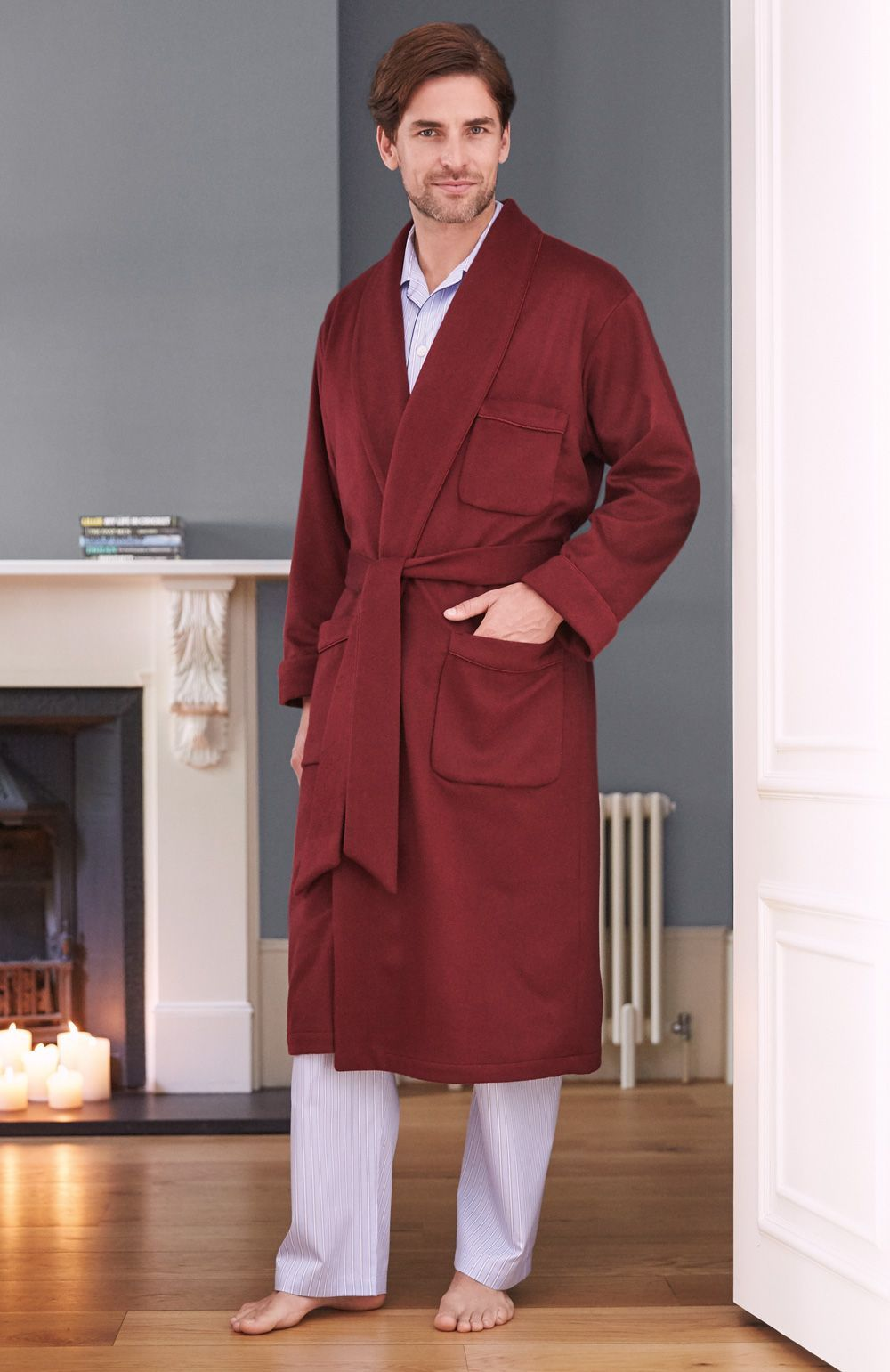 luxury menu0027s cashmere plain silklined robe made from soft italian cashmere our gowns - Mens Bathrobes