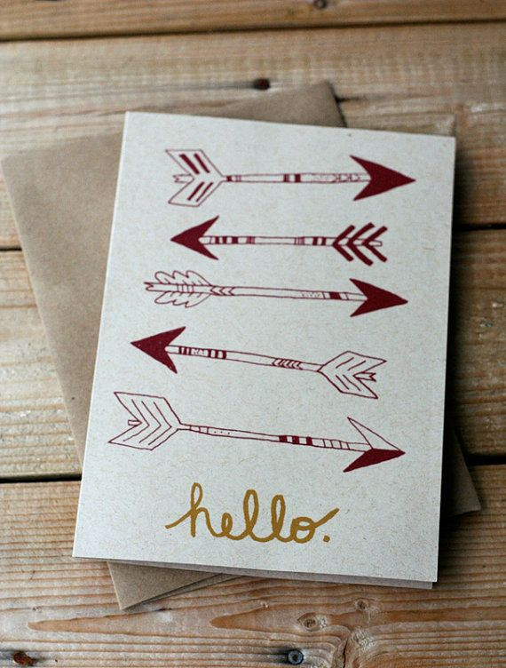 Hello Arrows Hand Printed Silkscreen Greeting Card Note Card Blank Inside Sorority Crafts Cards Note Cards