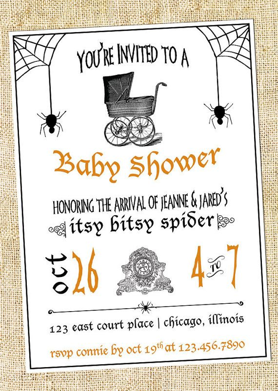 Halloween Baby Shower Invitation Digital Or Printed Shower