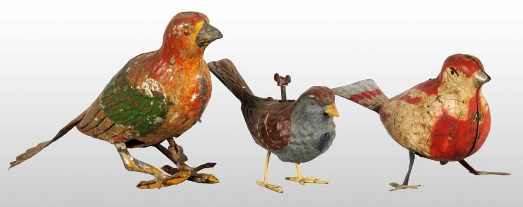 hand-painted tin bird wind-up toys, Germany