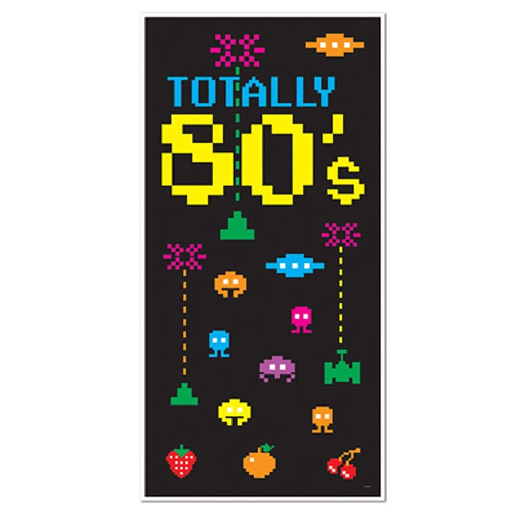 Totally 80's wicked space invaders retro door cover party ...