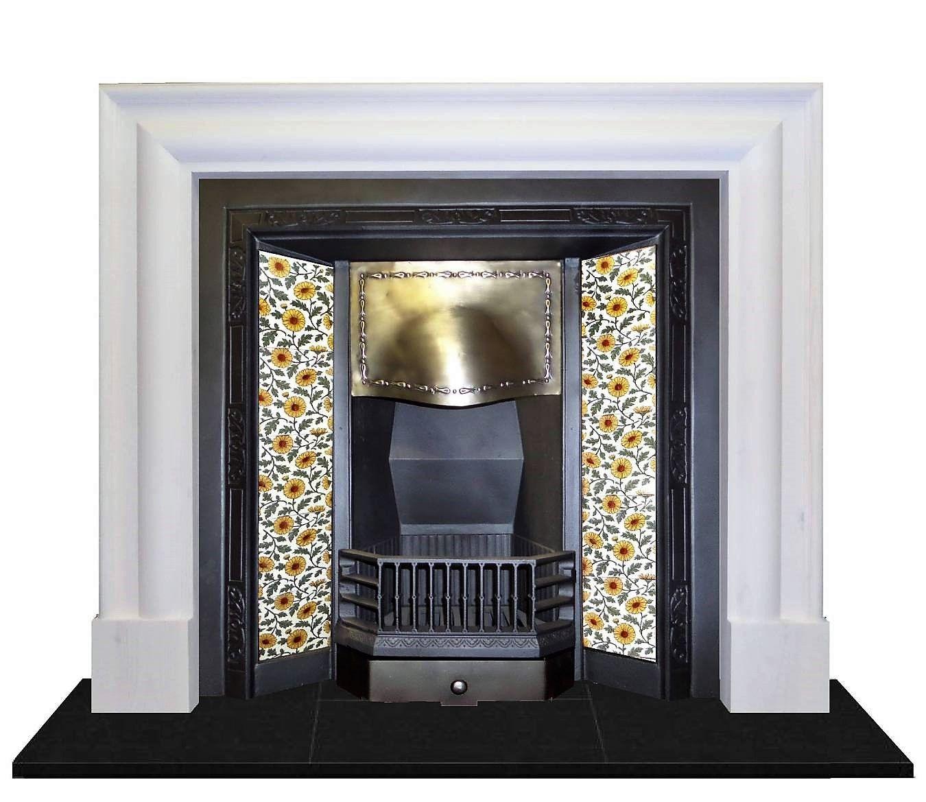 Fantastic Antique Edwardian Brass Tiled Cast Iron Fireplace Insert Download Free Architecture Designs Pushbritishbridgeorg