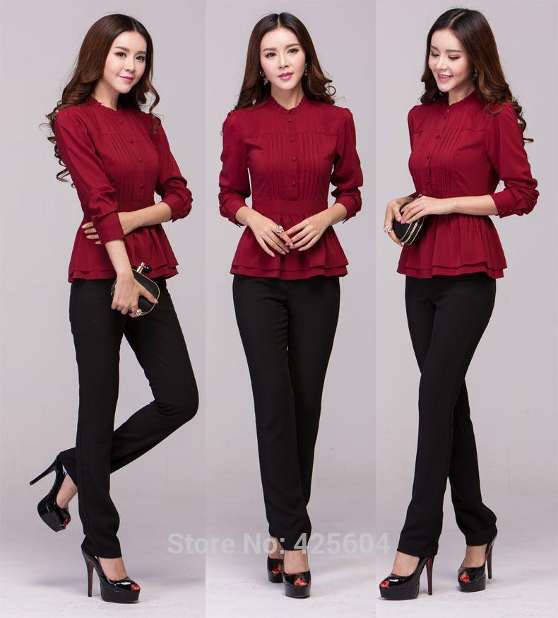Cheap Del desgaste del trabajo Formal trajes de pantalones para para mujer  de la oficina primavera otoño trajes de negocios blusas y pantalones  uniformes ... 24002faed090