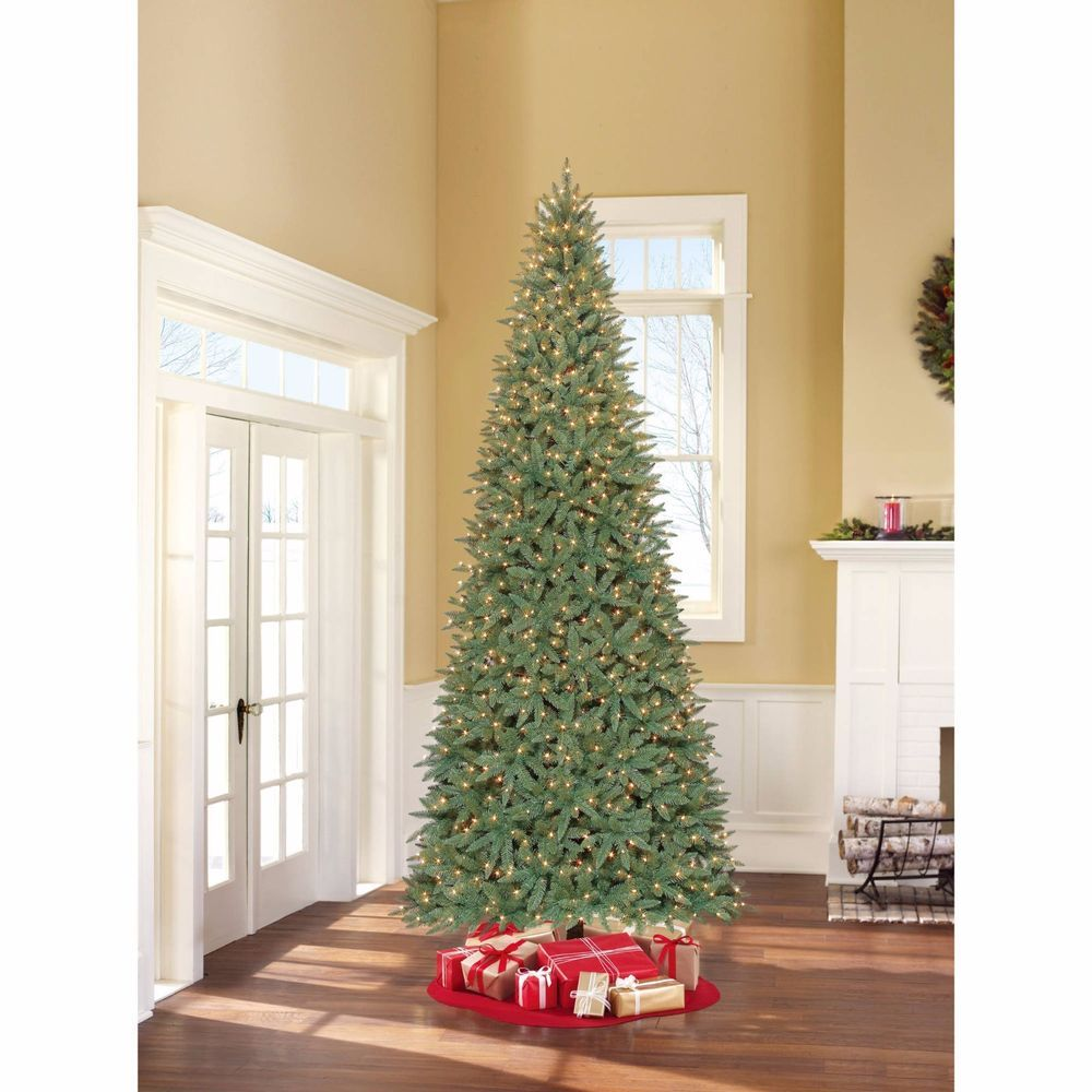 Prelit Christmas Tree Artificial White Lights 12 Ft Tall With Stand Large Xmas Pre Lit Christmas Tree Slim Artificial Christmas Trees Christmas Tree Clear Lights
