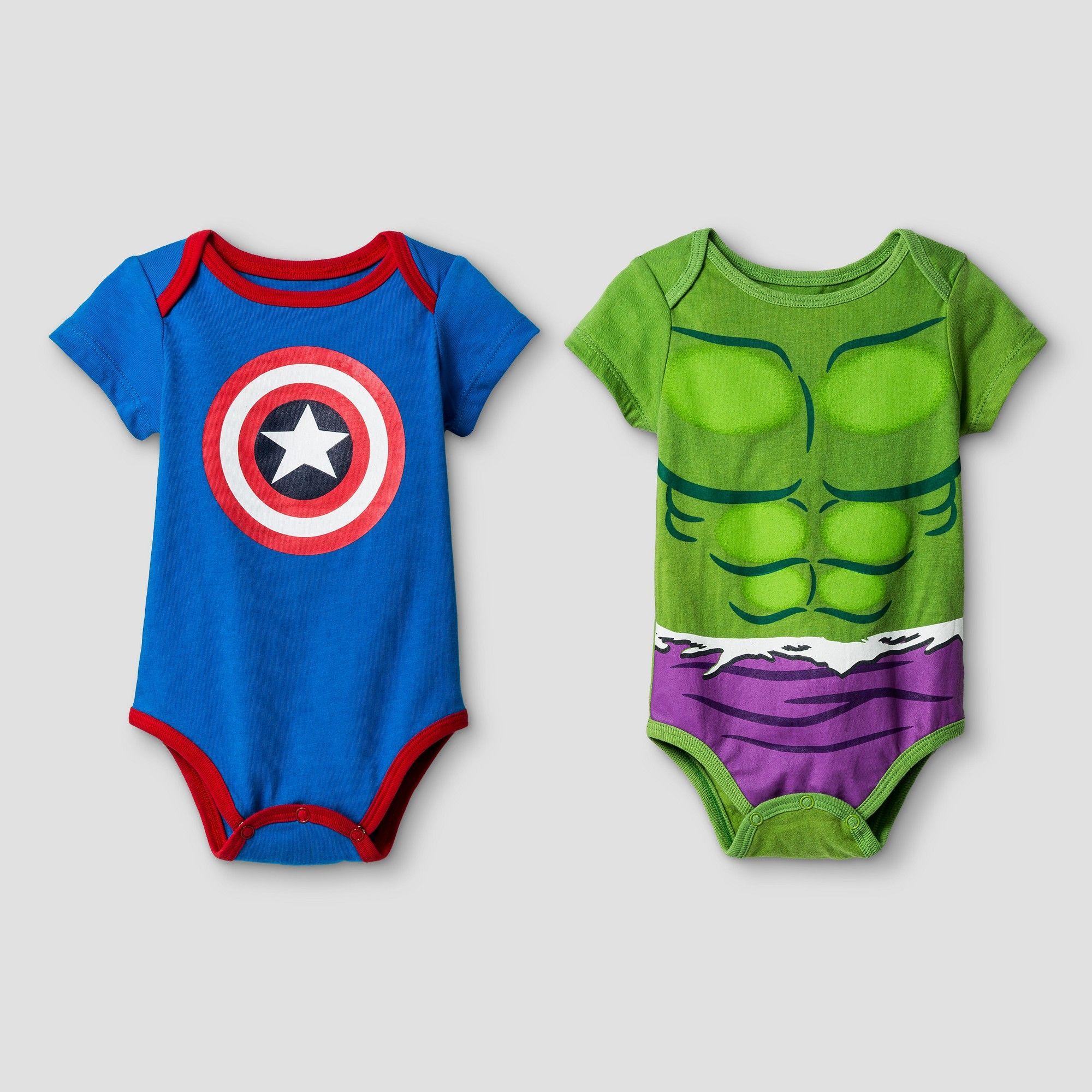e64c33f0c Disney Baby Boys  Hulk and Captain America 2pk Short Sleeve Bodysuit ...