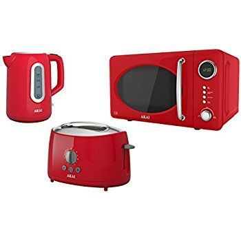 Akai Kitchen Appliance Set With Digital Microwave Cordless Kettle And 2 Slice Toaster Red Amazon Co Digital Timer Kitchen Appliance Set Kitchen Appliances