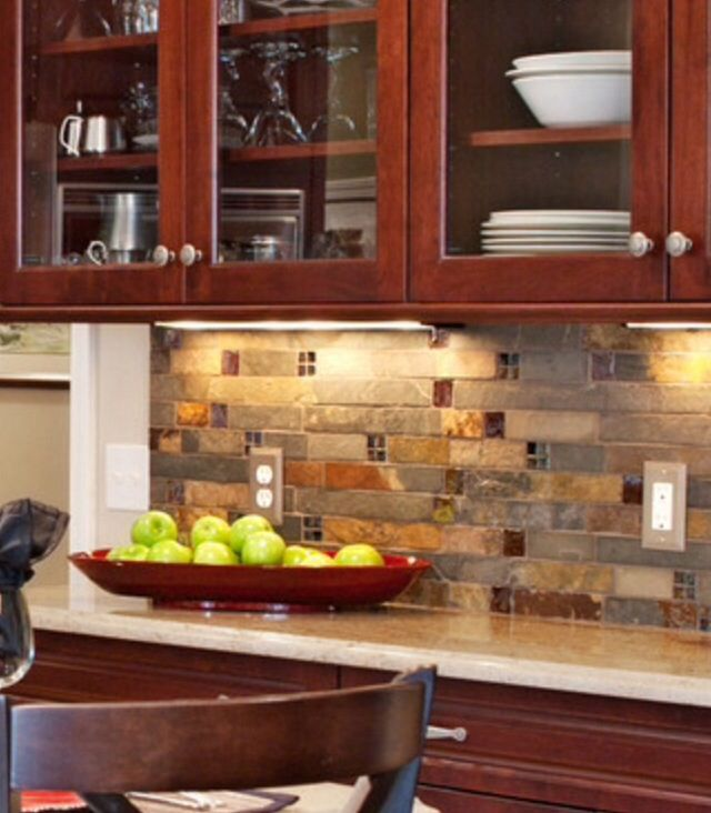 Kitchen Backsplash Cherry Cabinets: Backsplash: Love It!!! Like This! Though It Depends On The