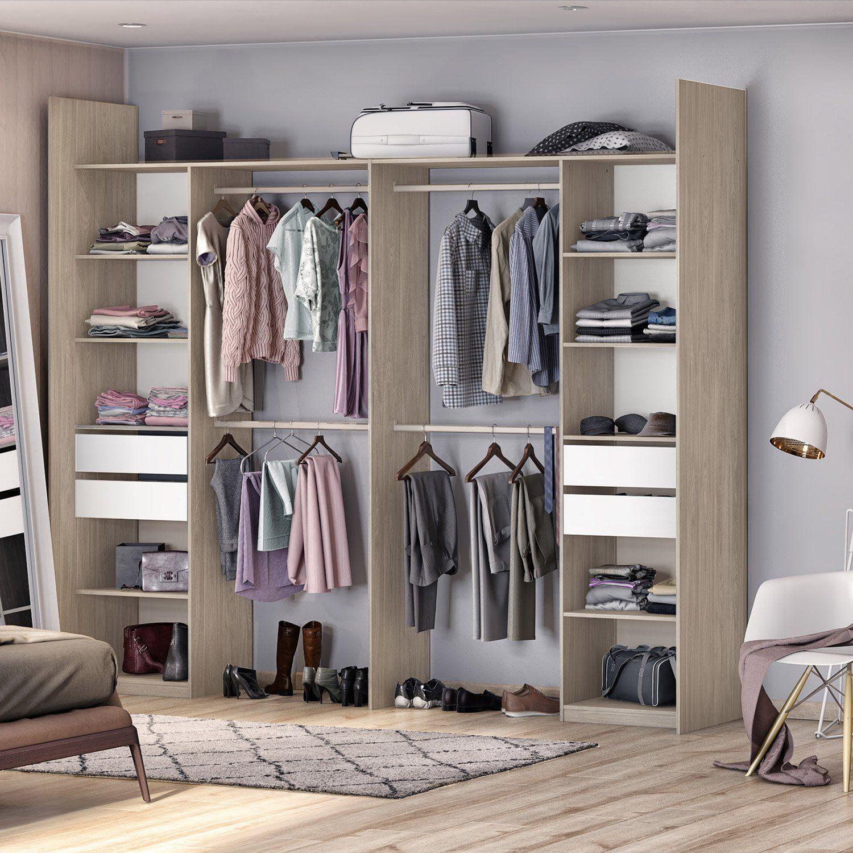 Kit Dressing Effet Chene Naturel Elle Et Lui H 249 X L 300 X P 44 Cm X P De La Dressing Dressing Chambre Amenagement Maison