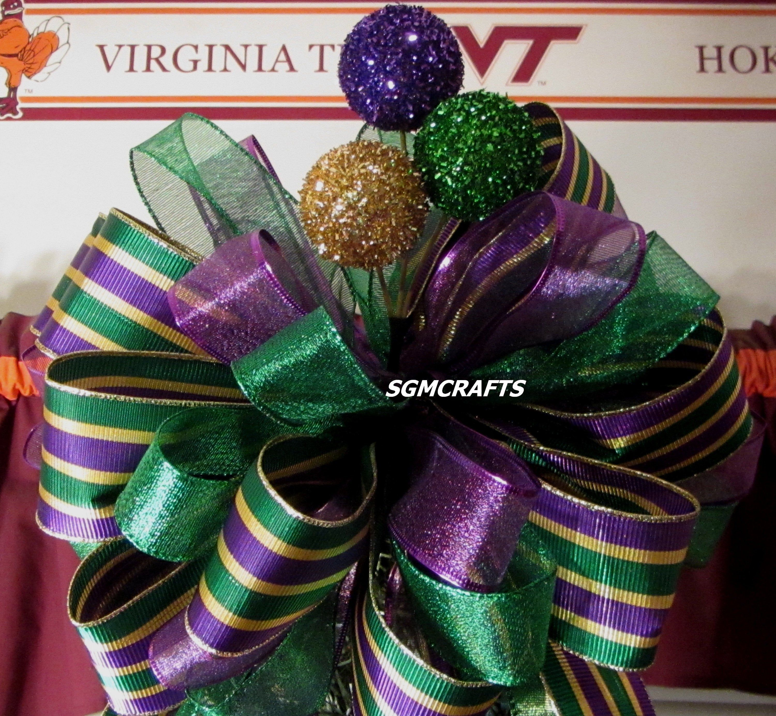 Mardi Gras Wired Ribbon Tree Topper Bow Christmas Tree Topper Etsy Christmas Tree Topper Bow Tree Topper Bow Christmas Tree Toppers