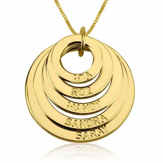 Collar Cinco Círculos con Nombre en plata chapada en Oro de 24k