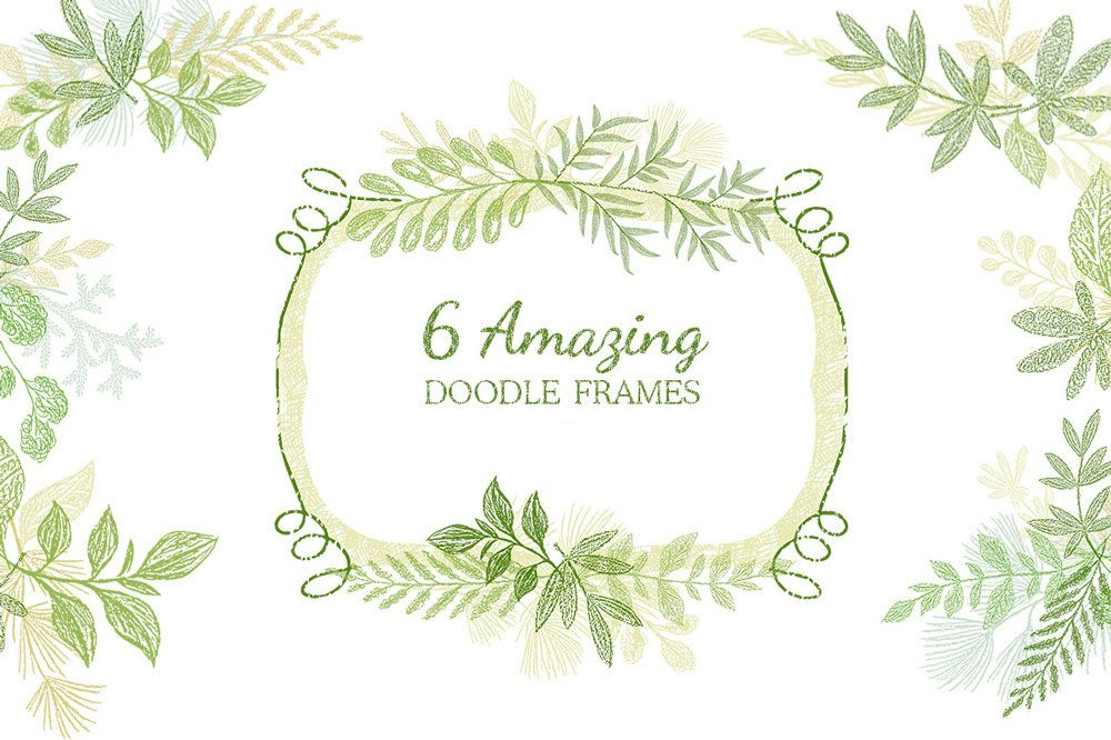 Hand drawn frames doodle frames leaf digital frames floral