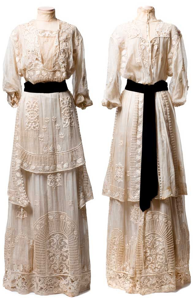 "White cotton marquisette (mesh) dress, ca. 1910-15, with embroidery, lace insertion, and covered buttons. Made by ""Mrs. DeWitt/5 West 31st Street, New York."" CharlestonMuseum.tumblr.com"